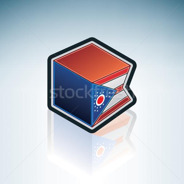 Ohio bayrak Amerika Birleşik Devletleri Amerika 3D izometrik Stok fotoğraf © Vectorminator