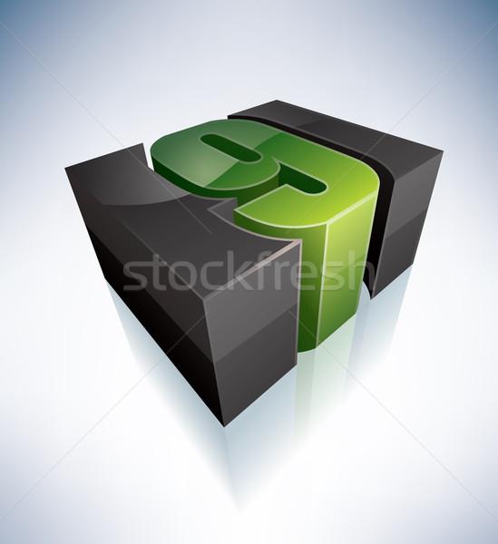 числа 3D зеленый логотип алфавит Сток-фото © Vectorminator