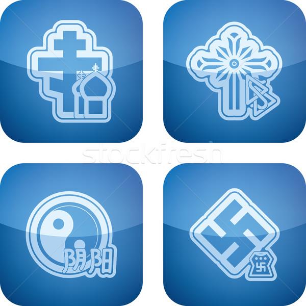 Vallás itt helyes kereszténység összes ikonok Stock fotó © Vectorminator