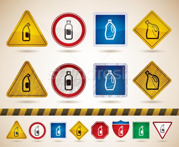 Temizlik doğru çamaşır suyu şişe dezenfektan vektör Stok fotoğraf © Vectorminator