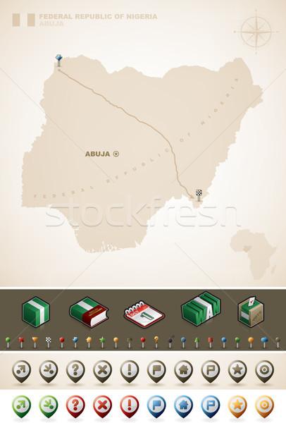 Nijerya federal cumhuriyet Afrika haritaları Stok fotoğraf © Vectorminator