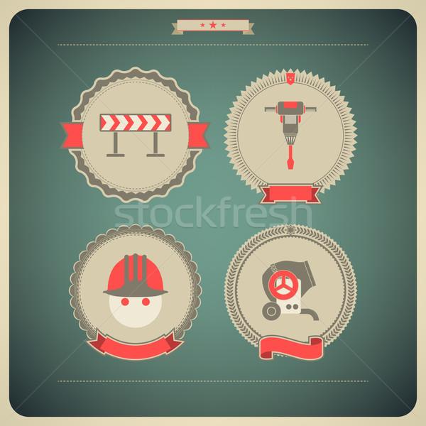 Pesado indústria ícones indústria da construção direito topo Foto stock © Vectorminator