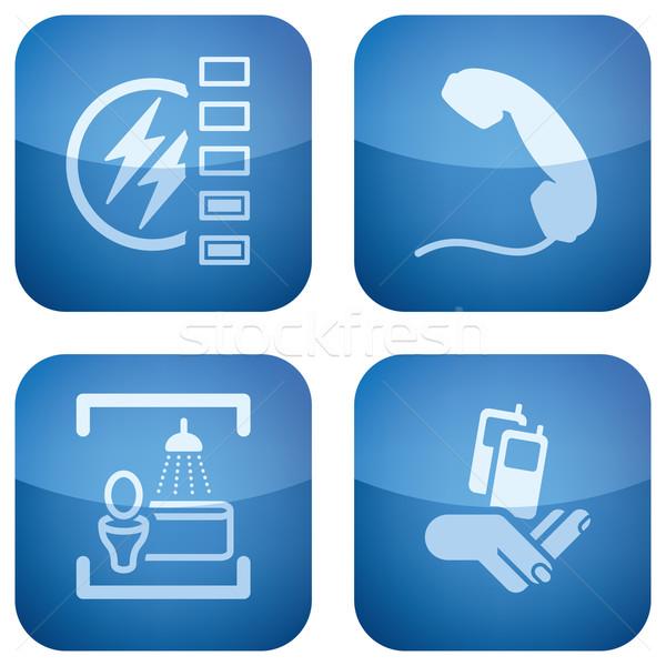 Kobalt szett kempingezés különböző ikonok erő Stock fotó © Vectorminator