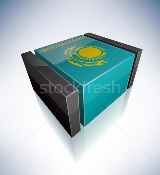 3D zászló Kazahsztán Ázsia köztársaság zászlók Stock fotó © Vectorminator