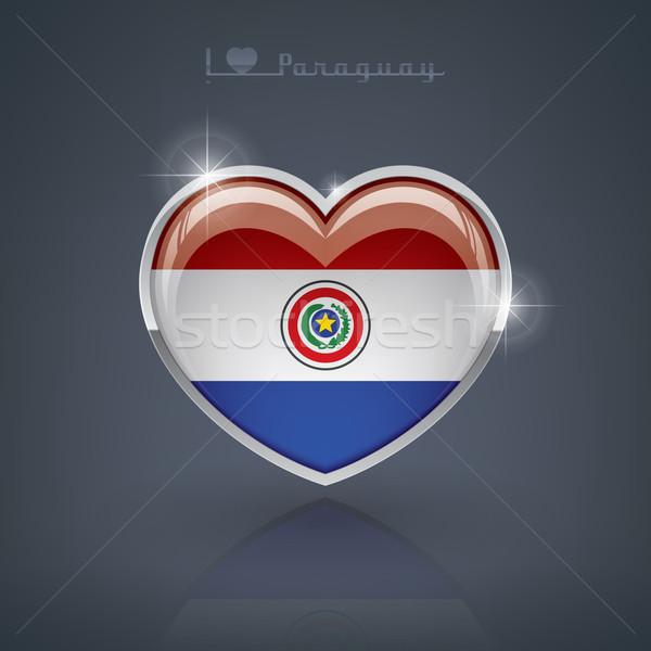 Paraguay lucido a forma di cuore bandiere repubblica cuore Foto d'archivio © Vectorminator