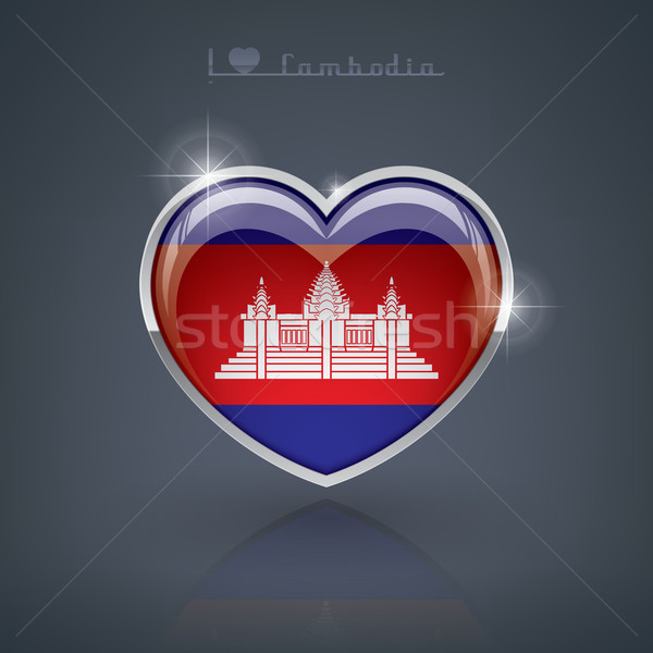 Koninkrijk Cambodja glanzend hartvorm vlaggen hart Stockfoto © Vectorminator