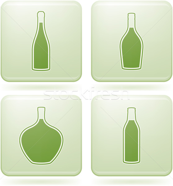 Olivine Square 2D Icons Set: Alcohol bottles Stock photo © Vectorminator