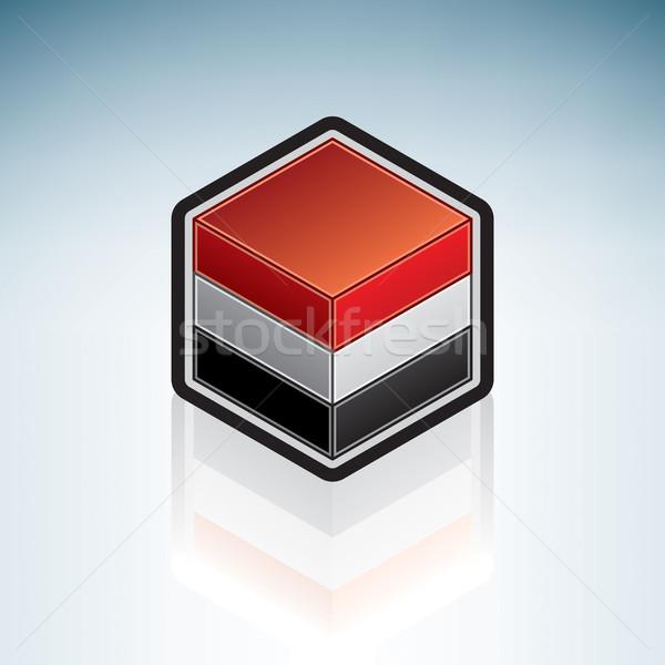 Jemen midden oosten vlag republiek 3D isometrische Stockfoto © Vectorminator