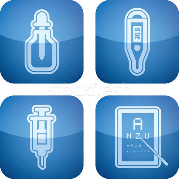 здравоохранения иконки право пипетка электронных термометра Сток-фото © Vectorminator