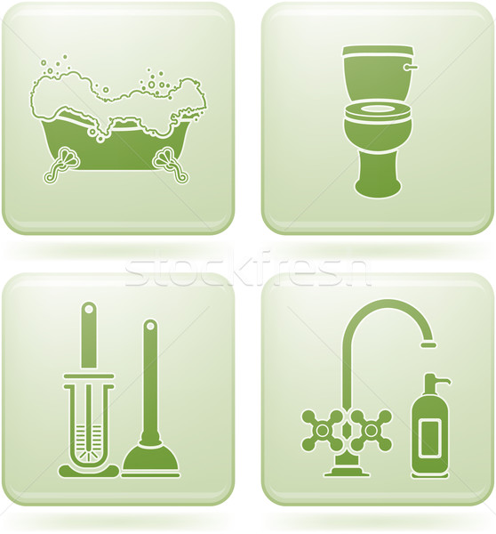 Olivine Square 2D Icons Set: Bath Stock photo © Vectorminator
