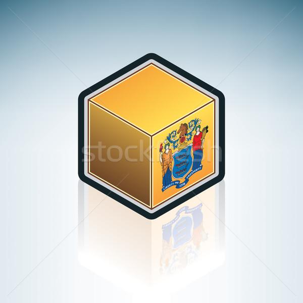 New Jersey bayrak Amerika Birleşik Devletleri Amerika 3D izometrik Stok fotoğraf © Vectorminator
