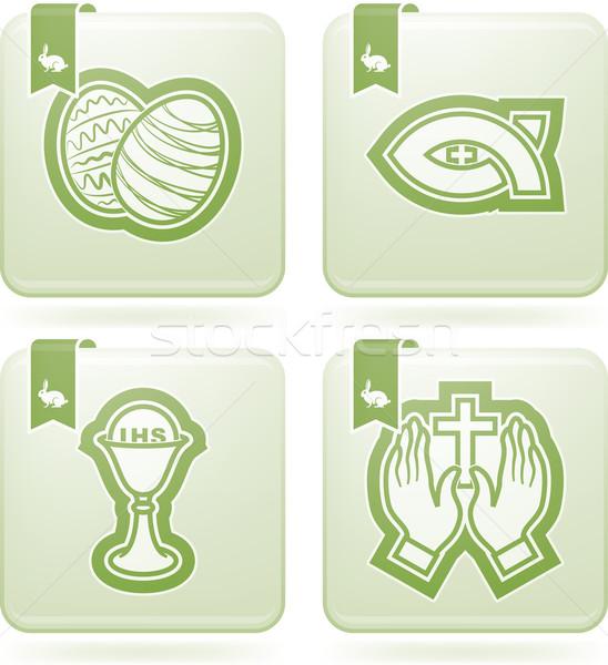 Húsvét ikonok szimbólumok keresztény helyes felső Stock fotó © Vectorminator