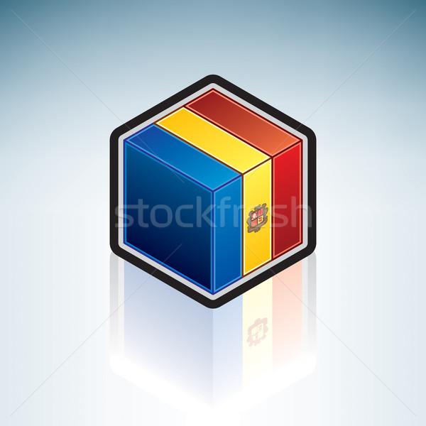 Stock fotó: Andorra · Európa · zászló · 3D · izometrikus · stílus