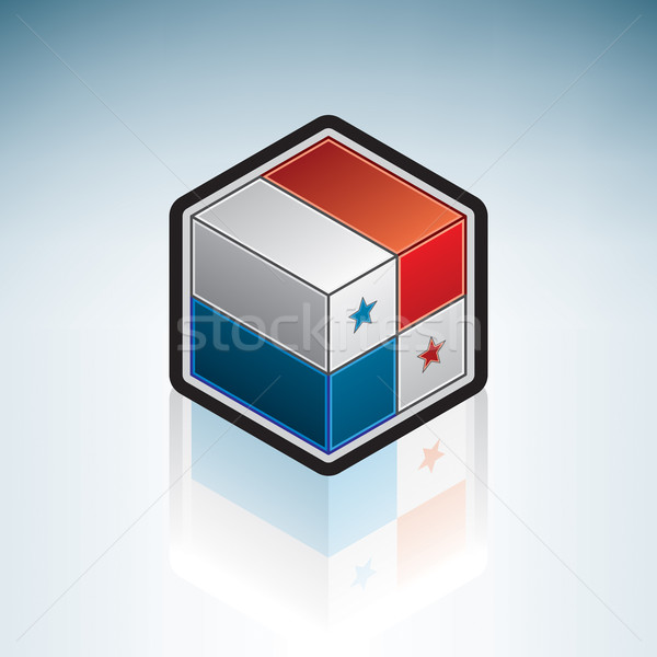 Panama latin amerika bayrak cumhuriyet 3D izometrik Stok fotoğraf © Vectorminator