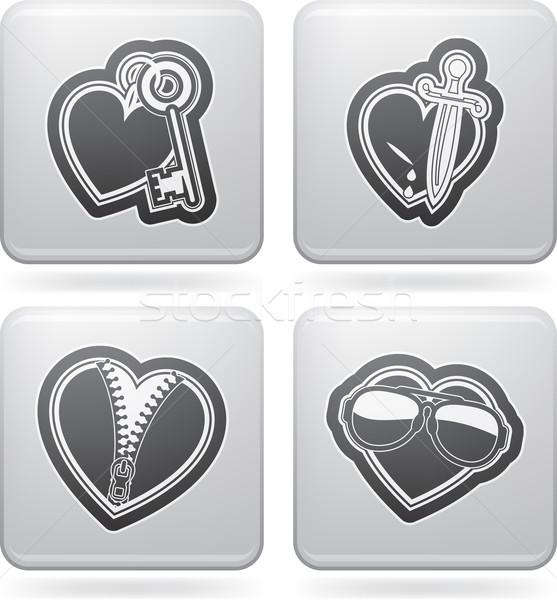 Kalpler valentine zaman simgeler farklı Stok fotoğraf © Vectorminator