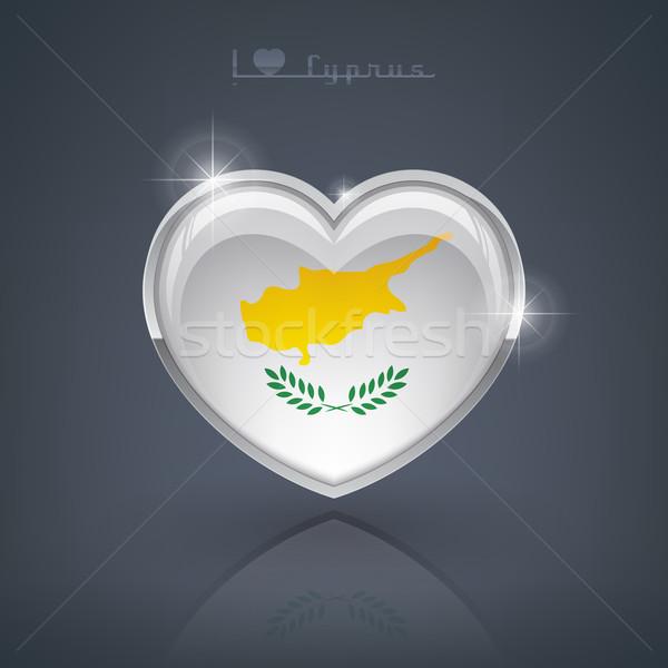 Cyprus glanzend hartvorm vlaggen republiek hart Stockfoto © Vectorminator