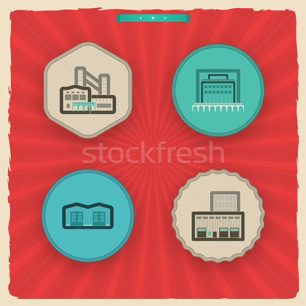 Industry Icons: Factory Stock photo © Vectorminator