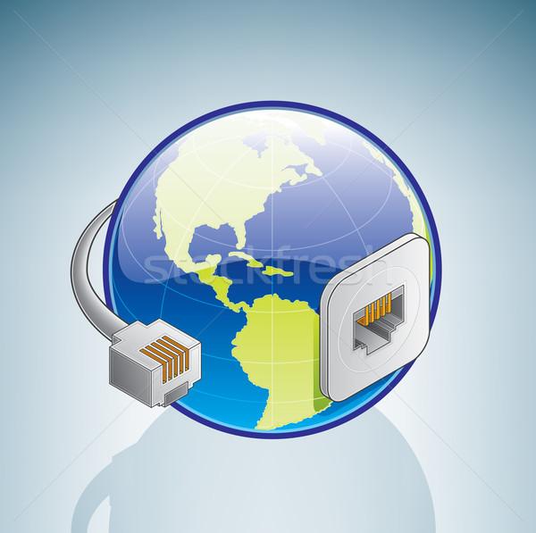 ストックフォト: 世界中 · インターネット · プラグイン · 3D · アイソメトリック