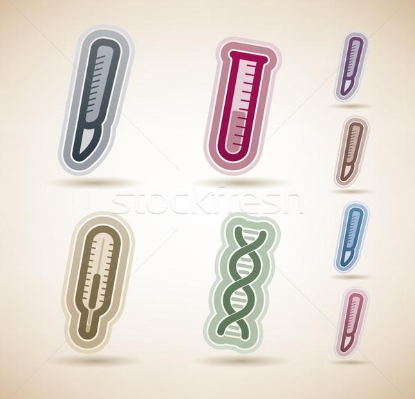 Egészségügy gyógyszer ikonok helyes felső fenék Stock fotó © Vectorminator