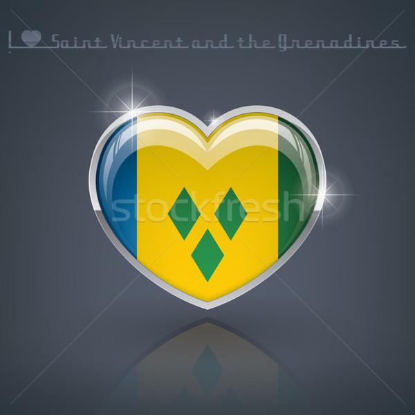 Glanzend hartvorm vlaggen hart Stockfoto © Vectorminator