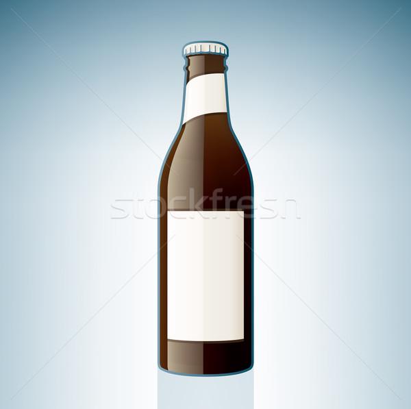 Bruin bierfles alcohol glas Blauw Stockfoto © Vectorminator