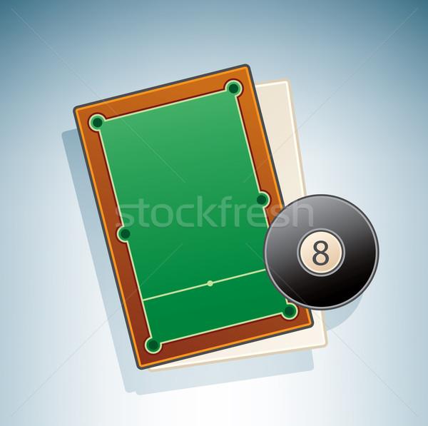 Snooker asztal 3D izometrikus tárgyak ikon szett Stock fotó © Vectorminator