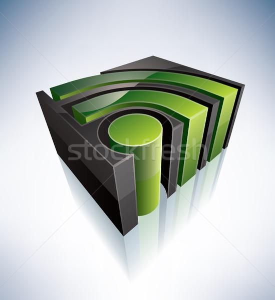 3D にログイン rss 緑 シンボル アルファベット ストックフォト © Vectorminator