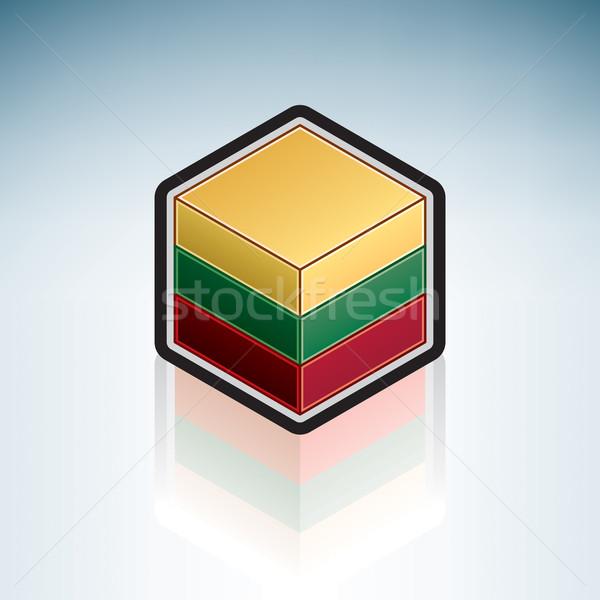 Litouwen Europa vlag republiek 3D isometrische Stockfoto © Vectorminator