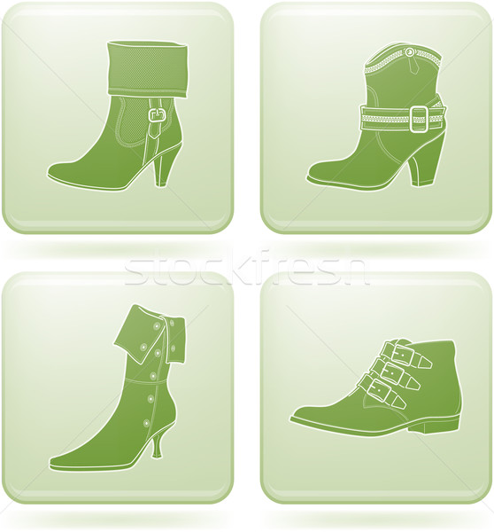 Stock photo: Olivine Square 2D Icons Set: Woman's Shoes