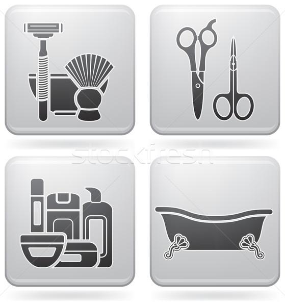 Fürdőkád kellékek fürdőszoba egyéb mindennapi dolgok Stock fotó © Vectorminator