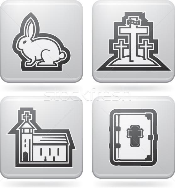 Paskalya simgeler semboller Hristiyan doğru üst Stok fotoğraf © Vectorminator