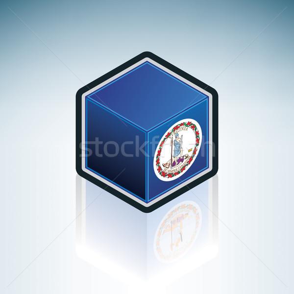 Virginia zászló Egyesült Államok Amerika 3D izometrikus Stock fotó © Vectorminator