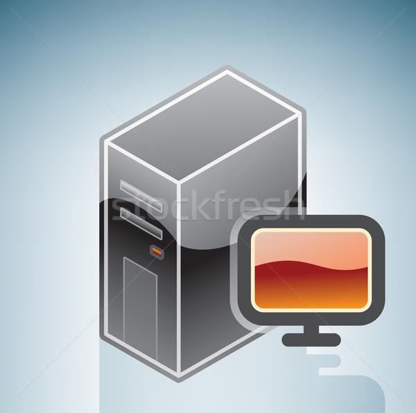 Számítógép LCD képernyő izometrikus 3D hardver Stock fotó © Vectorminator
