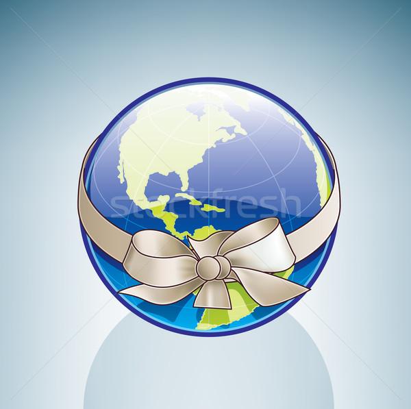 ストックフォト: 世界中 · リボン · 3D · アイソメトリック · 地球