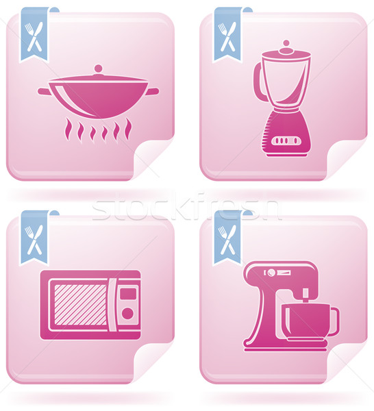 Cuisine ustensiles quotidien outils Flamingo carré Photo stock © Vectorminator