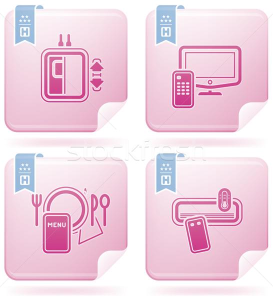 Hotel ikonok különböző lift illetmény tv Stock fotó © Vectorminator