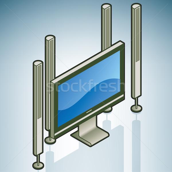 Otthoni mozi konyha kellékek izometrikus 3D ikon szett Stock fotó © Vectorminator