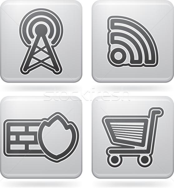 Internet pictogrammen computer onderdelen hier Stockfoto © Vectorminator