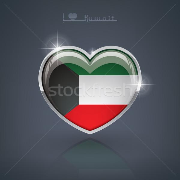 Koeweit glanzend hartvorm vlaggen hart Stockfoto © Vectorminator