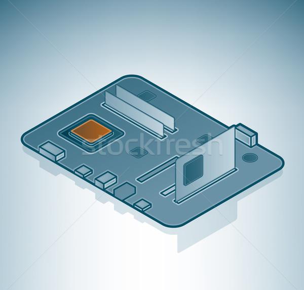マザーボード アイソメトリック 3D コンピュータ ハードウェア ストックフォト © Vectorminator