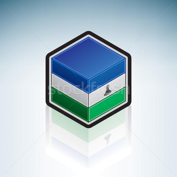 Lesotho Afrique pavillon uni 3D isométrique Photo stock © Vectorminator