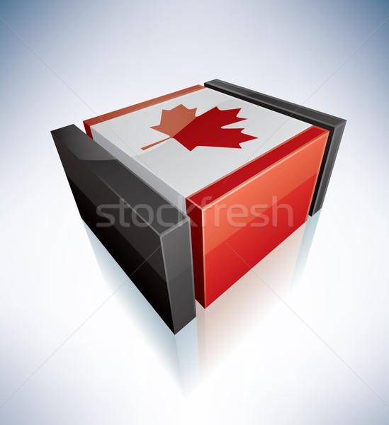 ストックフォト: 3D · フラグ · カナダ · フラグ · eps