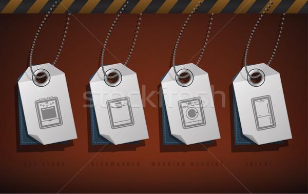 Huis objecten gas kachel vaatwasmachine wasmachine Stockfoto © Vectorminator