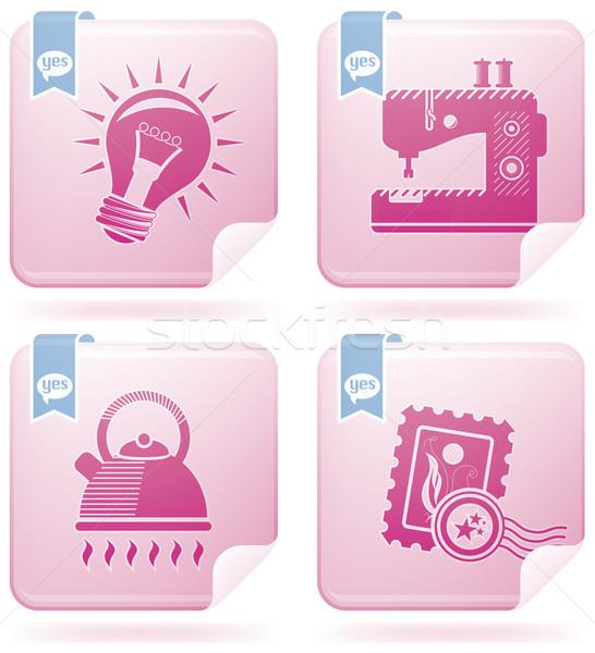 Сток-фото: веб · набор · фламинго · квадратный · вектора