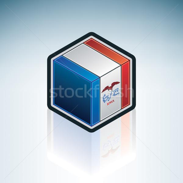 Iowa zászló Egyesült Államok Amerika 3D izometrikus Stock fotó © Vectorminator