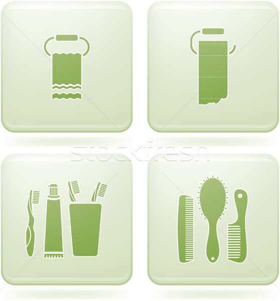 Olivine Square 2D Icons Set: Bathroom Stock photo © Vectorminator