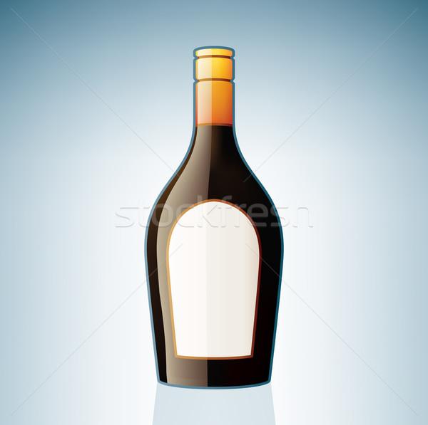 Barna likőr üveg alkohol üveg ikon szett Stock fotó © Vectorminator