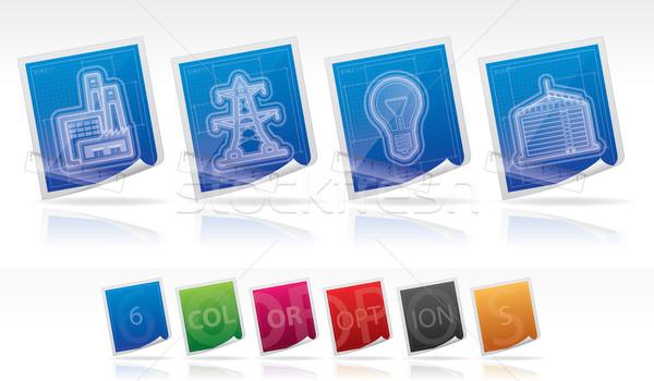 Ipar ikonok fotózás szerszámok felszerlés ikon szett Stock fotó © Vectorminator