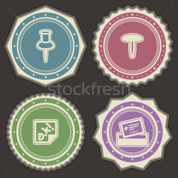 служба поставлять объекты Pin рисунок наклейку Сток-фото © Vectorminator