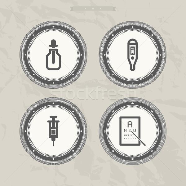 Gezondheidszorg ziekenhuis iconen fles elektronische Stockfoto © Vectorminator